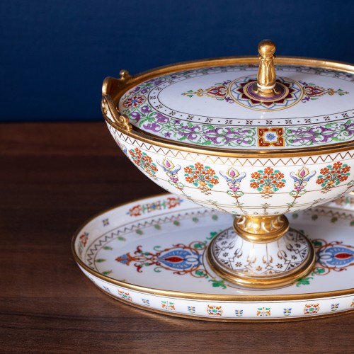 Rare set of 3 Sèvres sugar bowls from the service Mauresque dated 1835 - Porcelain & Faience Style Louis-Philippe