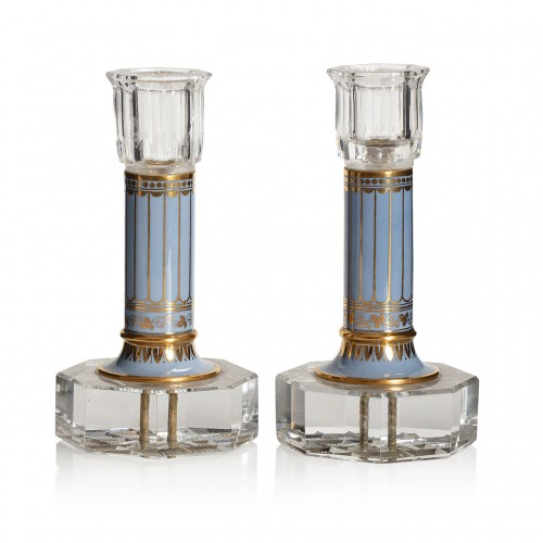 Pair of cut-crystal and Sèvres porcelain candlesticks, Circa 1830.