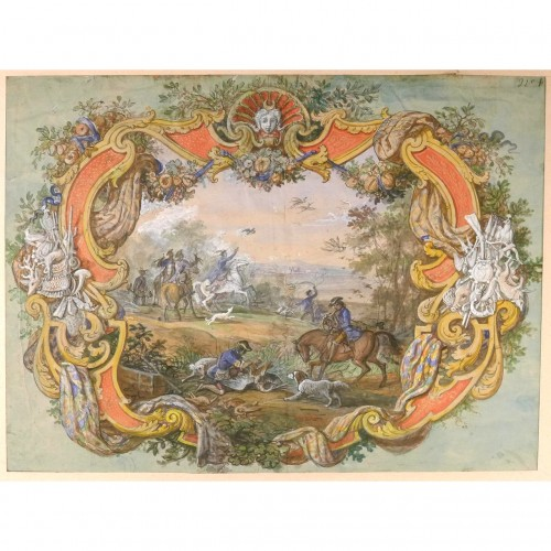 Jean-Charles Develly (1783-1849) - Hunting scene in a colourful cartouche.