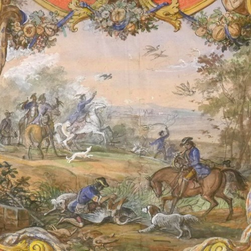 Jean-Charles Develly (1783-1849) - Hunting scene in a colourful cartouche. - Paintings & Drawings Style Louis-Philippe