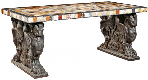 A specimen marble & patinated bronze center table in the Neoclassical style