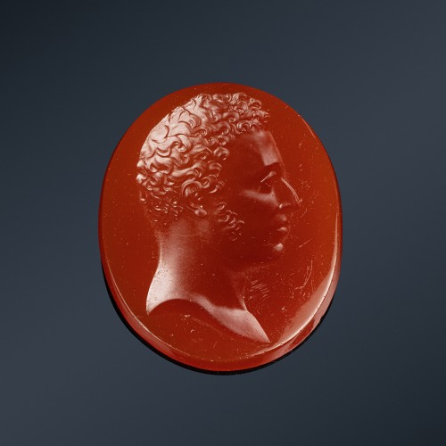 Intaglio on glass by Simon Fils portrait of the Duc of Angoulême - Objects of Vertu Style Restauration - Charles X