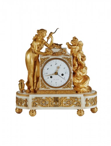 A Louis XVI gilt-bronze mounted white marble mantel clock 18th c.