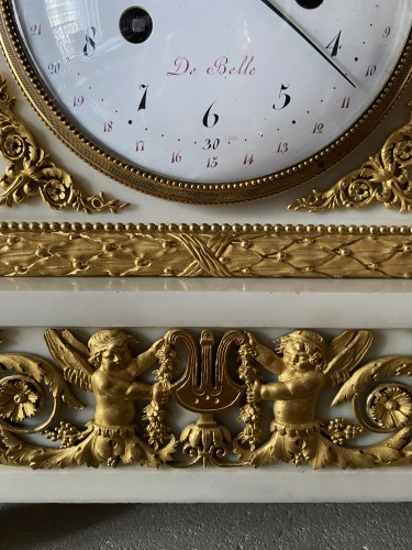 Horology  - A Louis XVI gilt-bronze mounted white marble mantel clock 18th c.