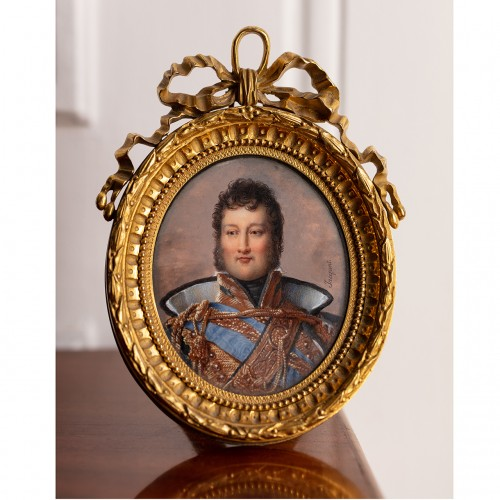 Miniature portrait of Louis-Philippe, Duke of Orléans, by Nicolas JACQUES  - Objects of Vertu Style Restauration - Charles X