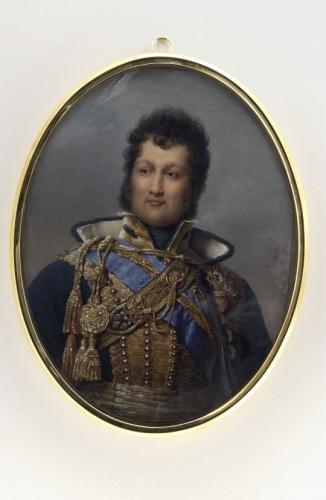 Miniature portrait of Louis-Philippe, Duke of Orléans, by Nicolas JACQUES  - Restauration - Charles X