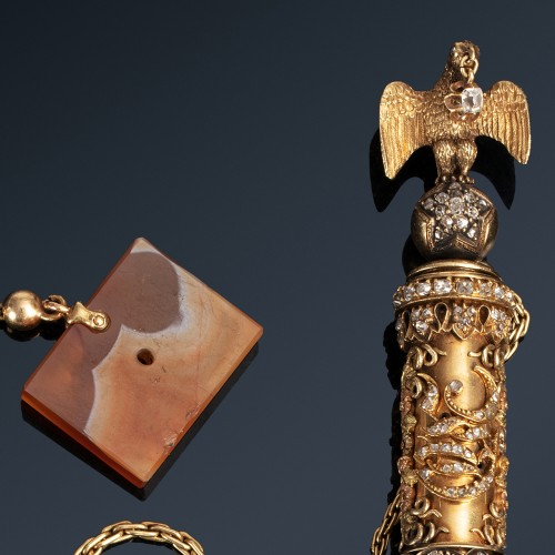 19th century - A precious gold, agate & diamonds tinder light from 19th century