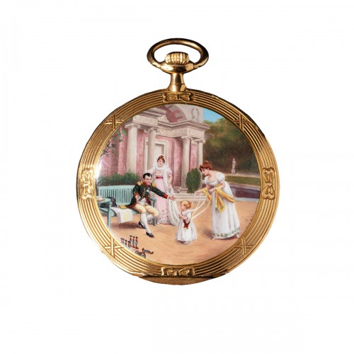 A Movado gold & enamel pocket watch depicting Napoleon playing with his son