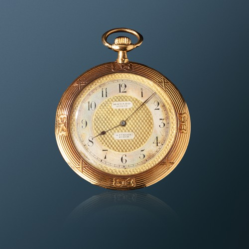 A Movado gold & enamel pocket watch depicting Napoleon playing with his son - Horology Style