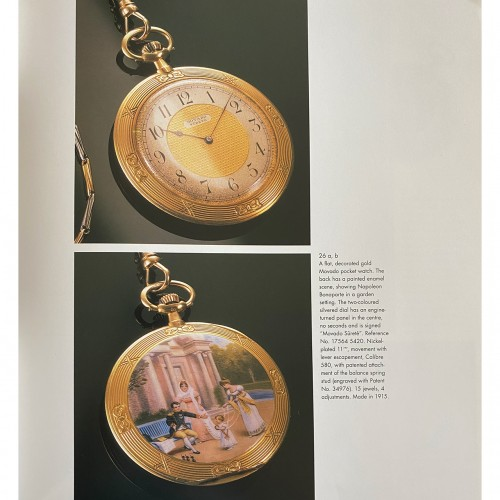 A Movado gold & enamel pocket watch depicting Napoleon playing with his son -