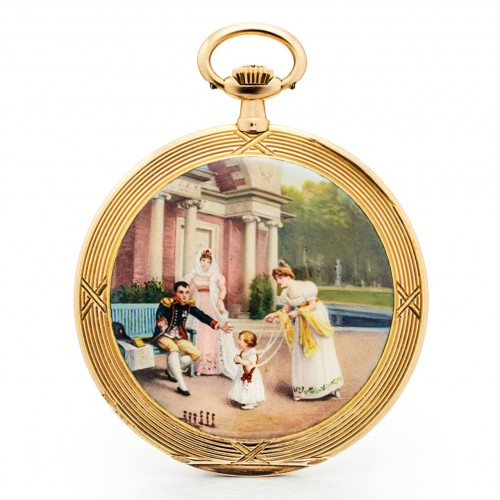 20th century - A Movado gold & enamel pocket watch depicting Napoleon playing with his son