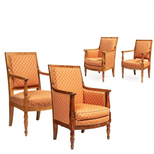 Set of 2 bergeres & 2 armchairs from the empire period From the palace of fontainebleau