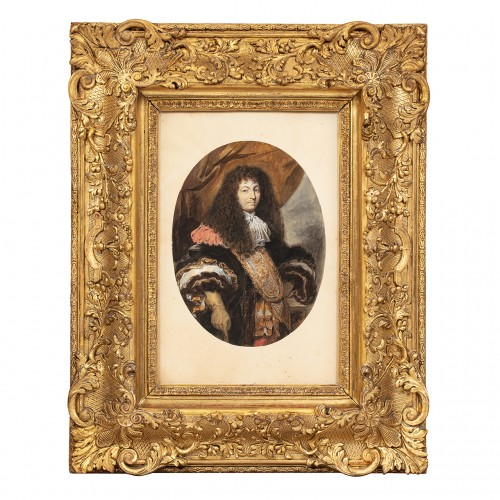 Portrait of the King Louis XIV - Watercolor after Charles LE BRUN