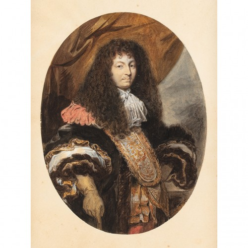 Portrait of the King Louis XIV - Watercolor after Charles LE BRUN - Paintings & Drawings Style Louis XIV
