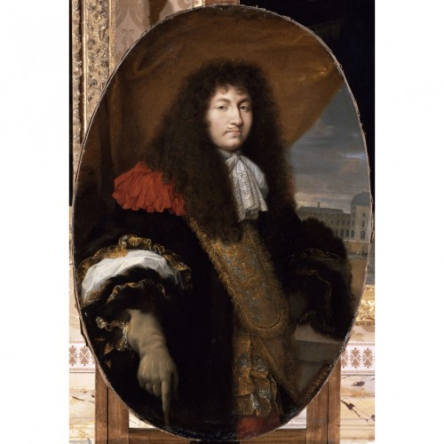 Paintings & Drawings  - Portrait of the King Louis XIV - Watercolor after Charles LE BRUN