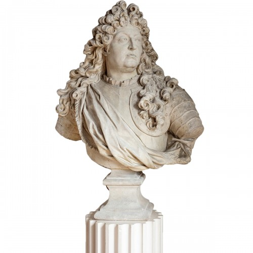 Bust of king Louis XIV in plaster by Mathurin Moreau (1822-1912)