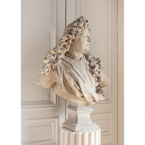 Bust of king Louis XIV in plaster by Mathurin Moreau (1822-1912) - Sculpture Style Napoléon III