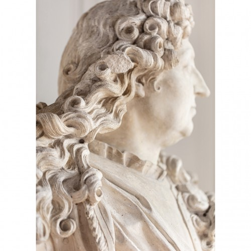 Sculpture  - Bust of king Louis XIV in plaster by Mathurin Moreau (1822-1912)