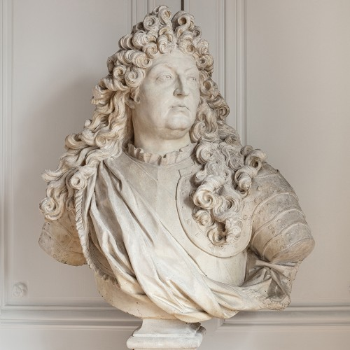 19th century - Bust of king Louis XIV in plaster by Mathurin Moreau (1822-1912)