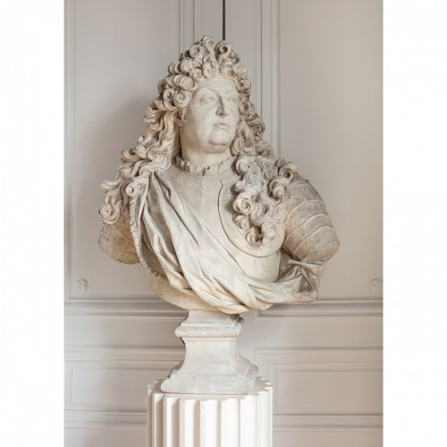 Bust of king Louis XIV in plaster by Mathurin Moreau (1822-1912) - Napoléon III