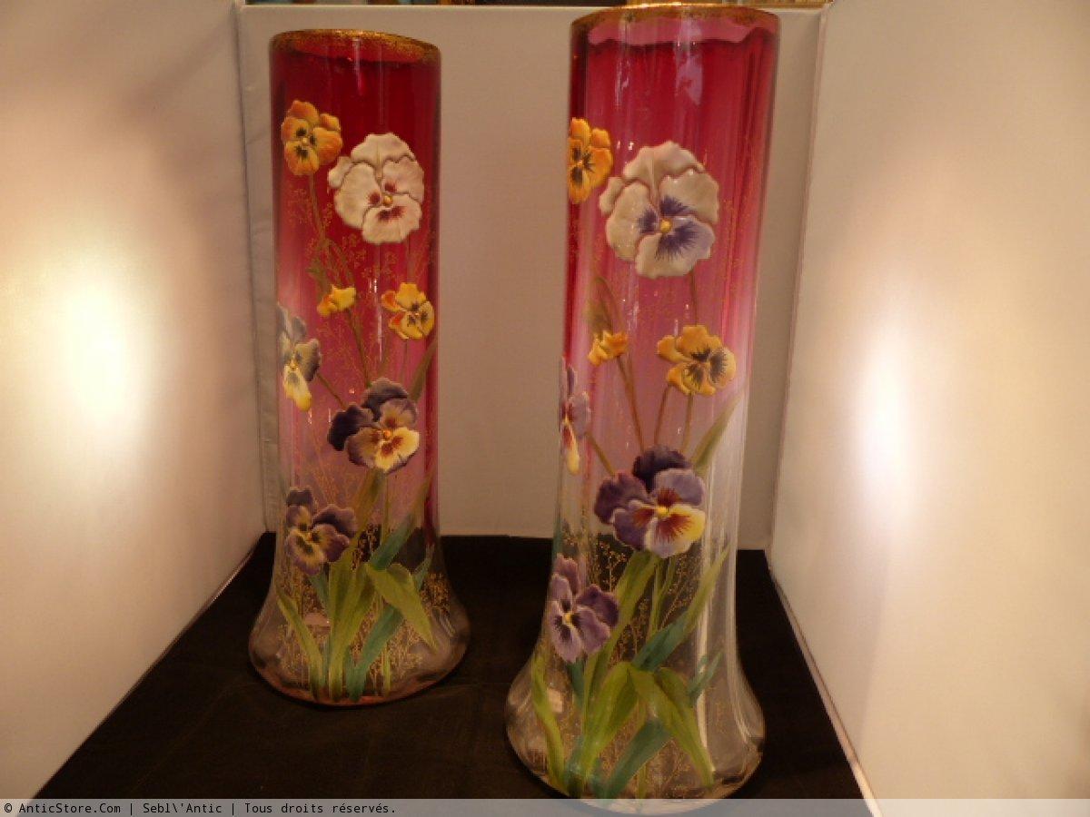 paire vases maill s aux pens es par legras xxe si cle. Black Bedroom Furniture Sets. Home Design Ideas