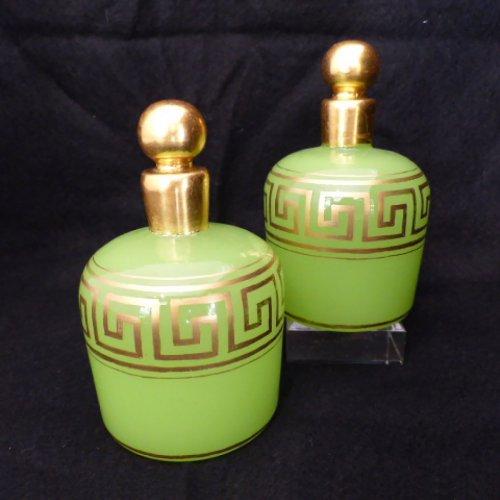 Baccarat pair of green opaline bottles