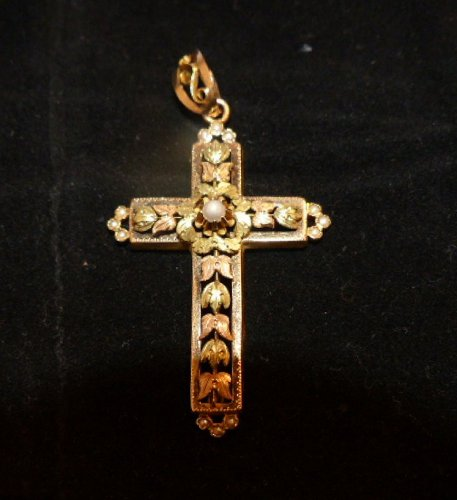 19th century color gold cross