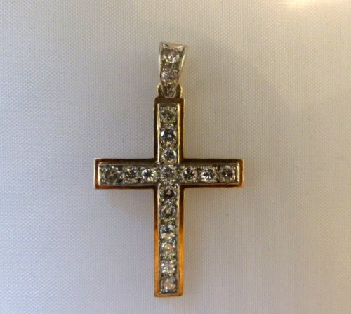 Cross in gold and Platinum set with diamonds