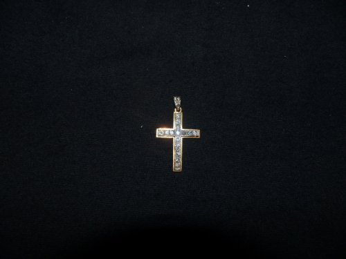 Cross in gold and Platinum set with diamonds - Antique Jewellery Style Art Déco