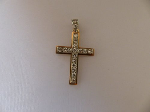 20th century - Cross in gold and Platinum set with diamonds