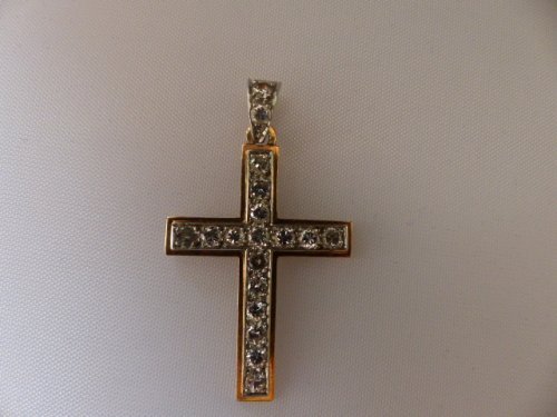 Antiquités - Cross in gold and Platinum set with diamonds
