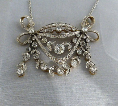 Collier broche en or et diamants vers 1880