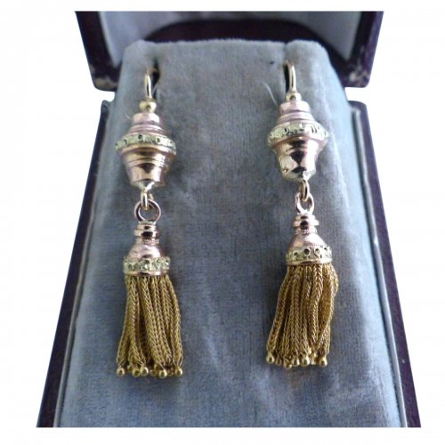 Pair of Napoléon III color gold earrings