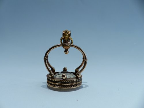 Seal, gold and citrine pendant, French Restauration period -