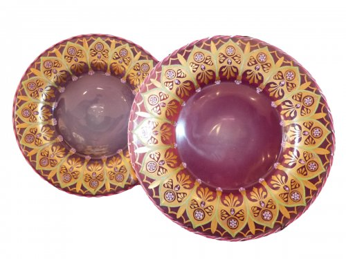 Pair of pink opaline of nineteenth century displays