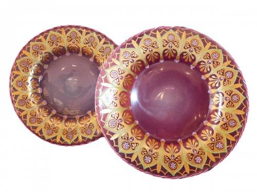 Pair of pink opaline of nineteenth century displays