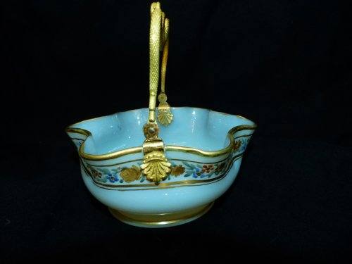 Glass & Crystal  - OPALINE and gilded bronze Basket