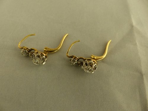 Pair of earrings in gold and diamonds - Art nouveau