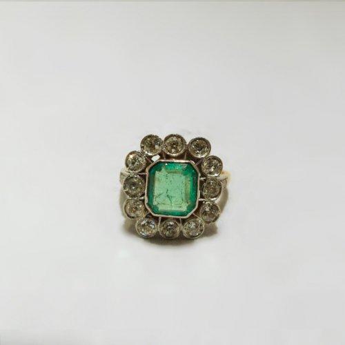 Ring yellow gold, Platinum, naturel emerald and diamonds