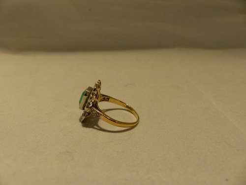 Ring yellow gold, Platinum, naturel emerald and diamonds - Antique Jewellery Style Napoléon III