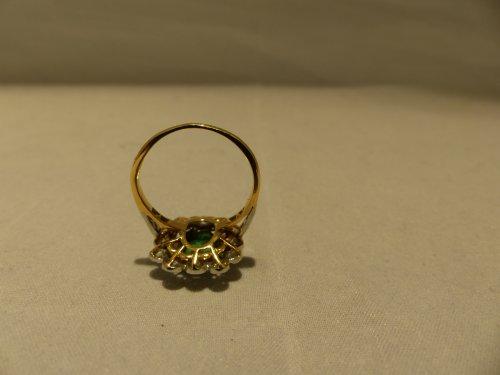 19th century - Ring yellow gold, Platinum, naturel emerald and diamonds