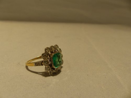 Ring yellow gold, Platinum, naturel emerald and diamonds - Napoléon III