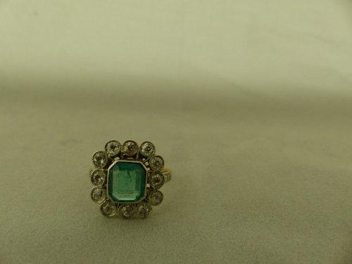 Napoléon III - Ring yellow gold, Platinum, naturel emerald and diamonds