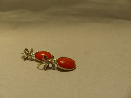 Earrings in gold, coral and diamonds - Antique Jewellery Style Art Déco