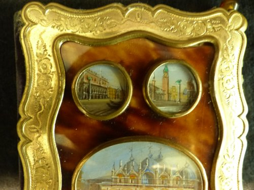 Objects of Vertu  - Dance card in tortoise shell  and views of Venice