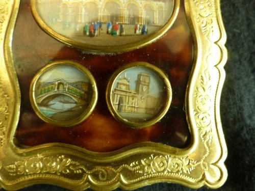 Dance card in tortoise shell  and views of Venice -