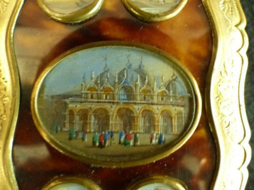 19th century - Dance card in tortoise shell  and views of Venice