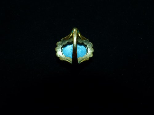 19th century - Important ring in gold, Turquoise and pearls