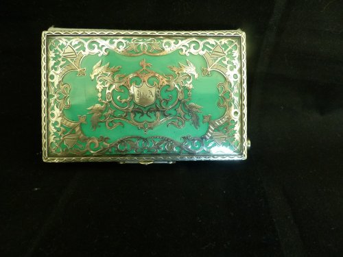 19th century - Dance card in lacquer and silver