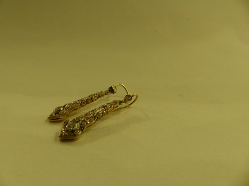 Art-Deco earrings in gold and diamonds - Antique Jewellery Style Art Déco